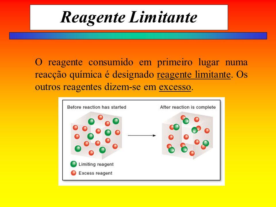 Reagente Limitante O reagente consumido em primeiro lugar numa reacção química é designado reagente limitante. Os outros reagentes dizem-se em excesso