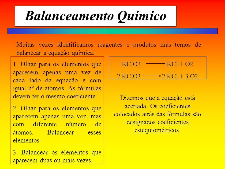 Balanceamento Químico Muitas vezes identificamos reagentes e produtos mas temos de balancear a equação química. 1. Olhar para os elementos que aparece