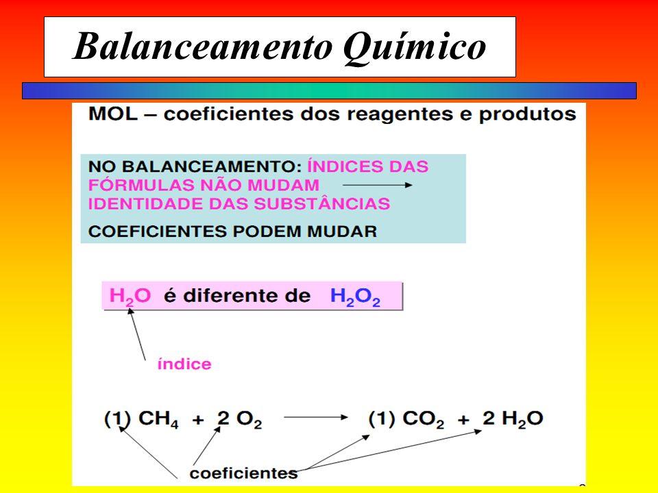 Fixando conteúdo Átomo O = 16 1 átomo = 16 u 1 mol de O = 16 gramas 16 gramas = 6,02 x 10 23 átomos