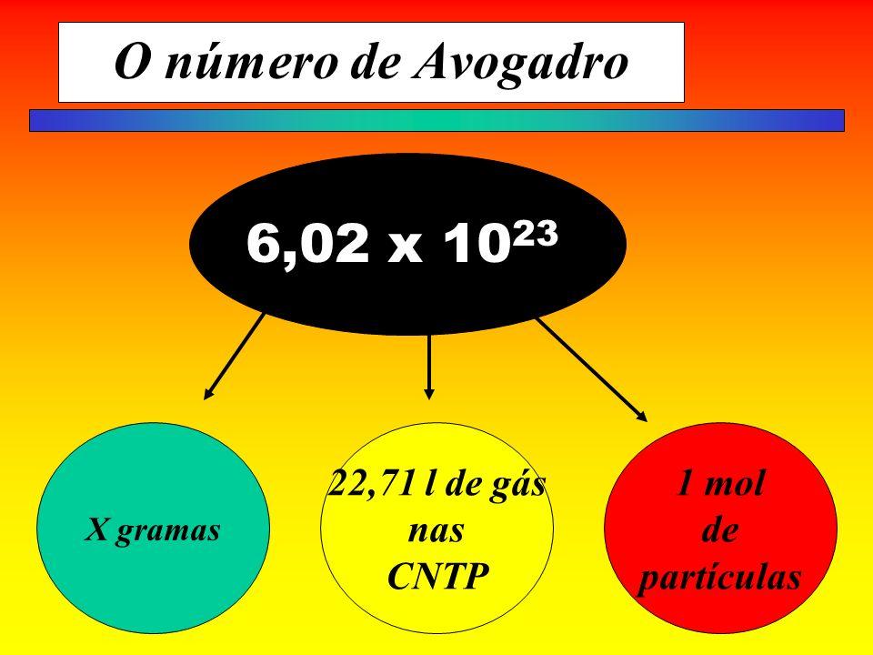 O número de Avogadro X gramas 22,71 l de gás nas CNTP 1 mol de partículas 6,02 x 10 23
