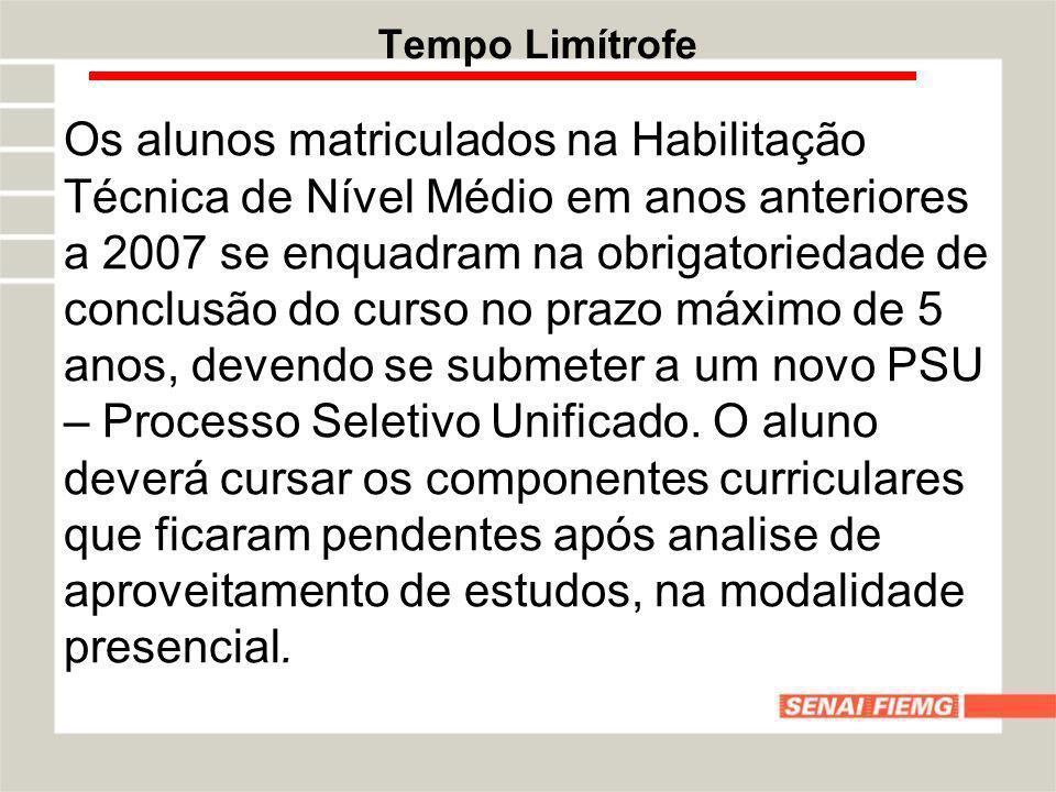 Tempo Limítrofe Os alunos matriculados na Habilitação Técnica de Nível Médio em anos anteriores a 2007 se enquadram na obrigatoriedade de conclusão do