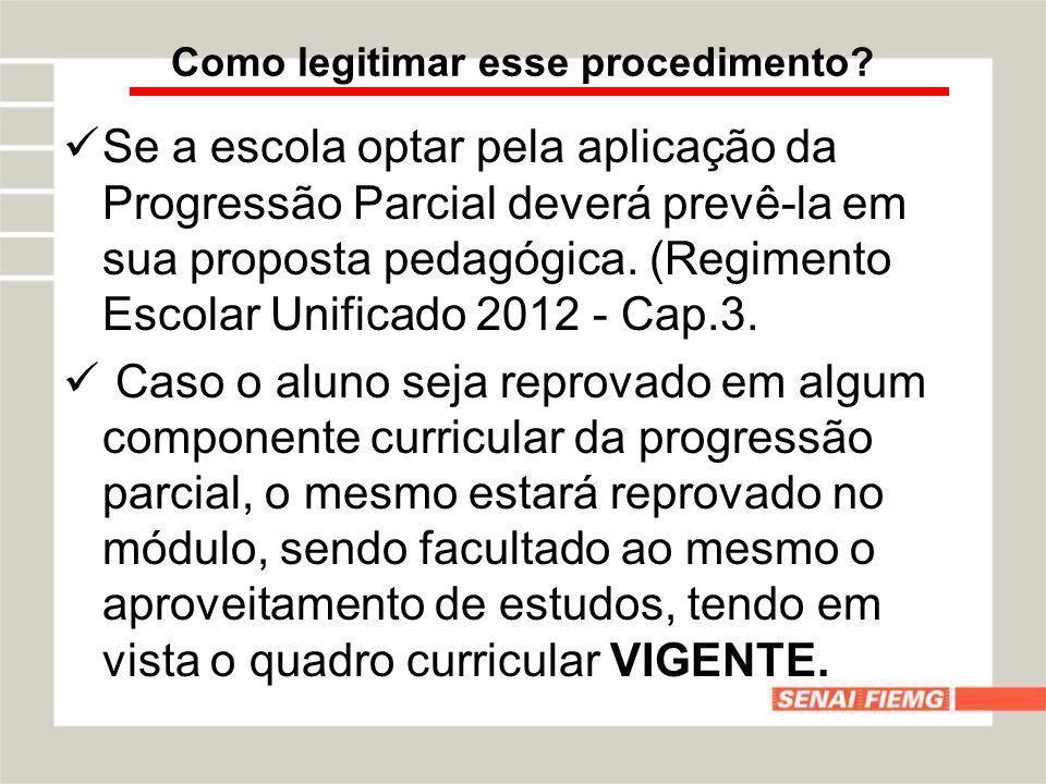 Se a escola optar pela aplicação da Progressão Parcial deverá prevê-la em sua proposta pedagógica. (Regimento Escolar Unificado 2012 - Cap.3. Caso o a
