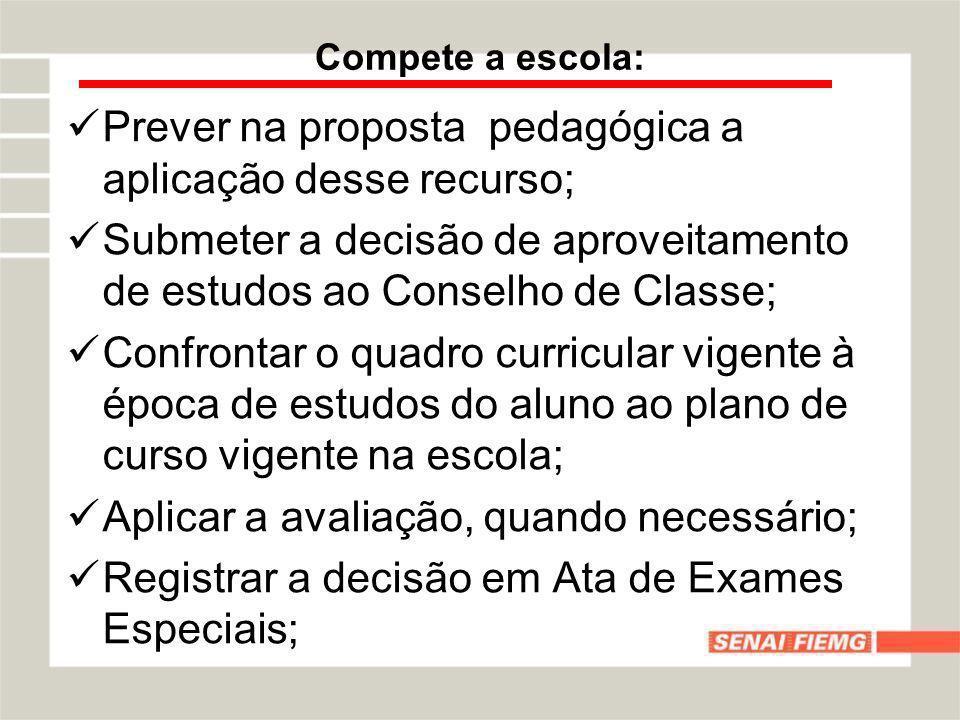 Compete a escola: Prever na proposta pedagógica a aplicação desse recurso; Submeter a decisão de aproveitamento de estudos ao Conselho de Classe; Conf