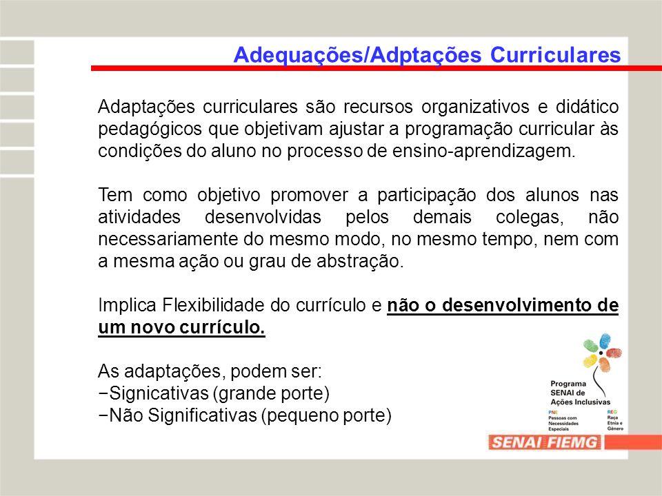 Adequações/Adptações Curriculares Adaptações curriculares são recursos organizativos e didático pedagógicos que objetivam ajustar a programação curric