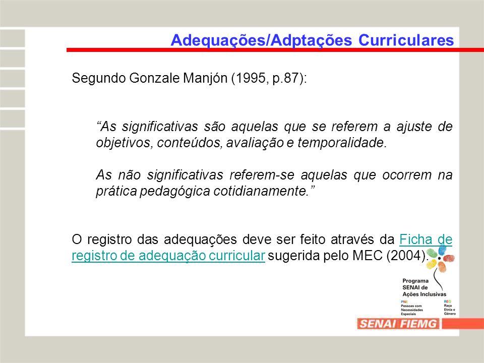 Adequações/Adptações Curriculares Segundo Gonzale Manjón (1995, p.87): As significativas são aquelas que se referem a ajuste de objetivos, conteúdos,