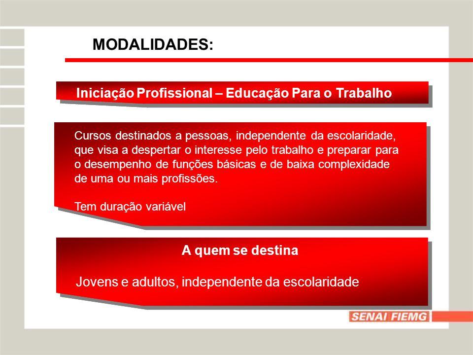 MODALIDADES: Qualificação Profissional Básica – Formação Inicial Curso que visa o desenvolvimento de competências profissionais reconhecidas no mercado de trabalho.