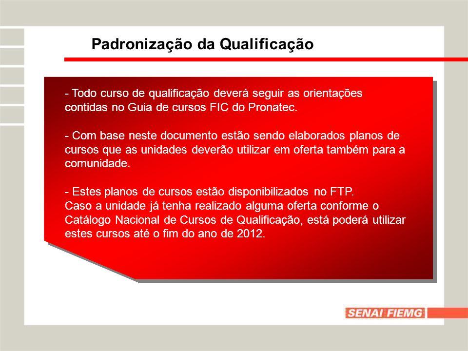 Padronização da Qualificação - Todo curso de qualificação deverá seguir as orientações contidas no Guia de cursos FIC do Pronatec.