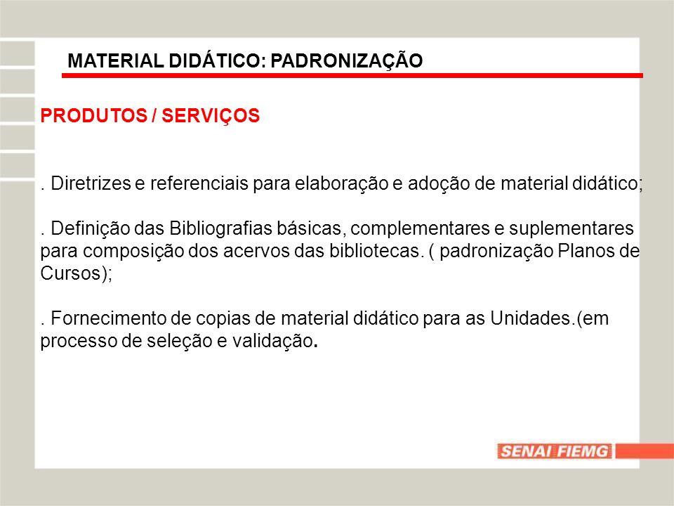 MATERIAL DIDÁTICO: PADRONIZAÇÃO PRODUTOS / SERVIÇOS. Diretrizes e referenciais para elaboração e adoção de material didático;. Definição das Bibliogra