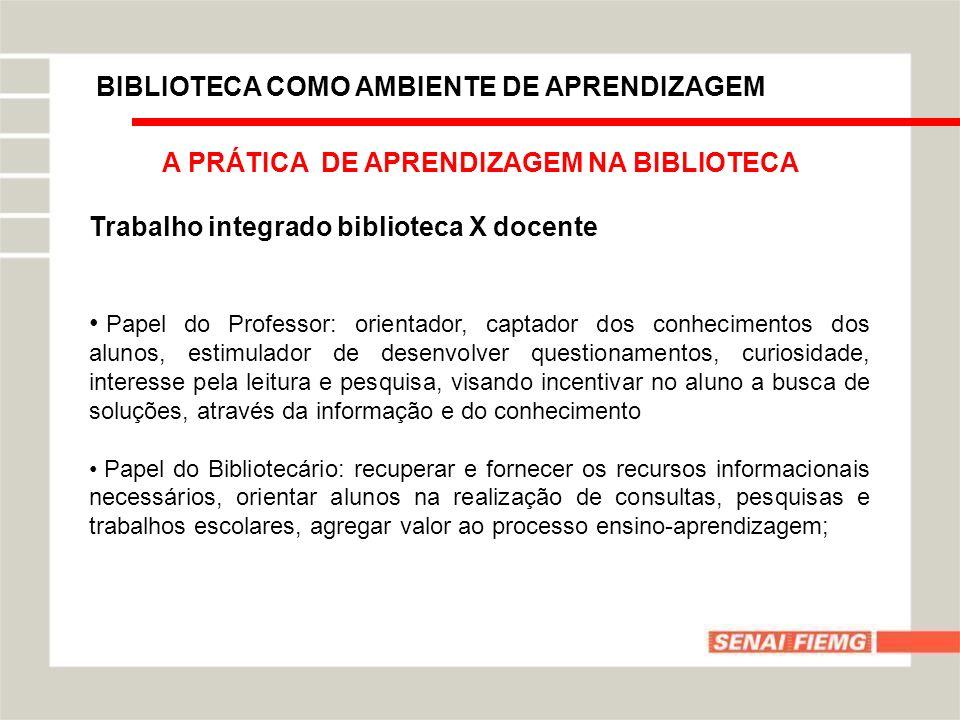 BIBLIOTECA COMO AMBIENTE DE APRENDIZAGEM A PRÁTICA DE APRENDIZAGEM NA BIBLIOTECA Trabalho integrado biblioteca X docente Papel do Professor: orientado