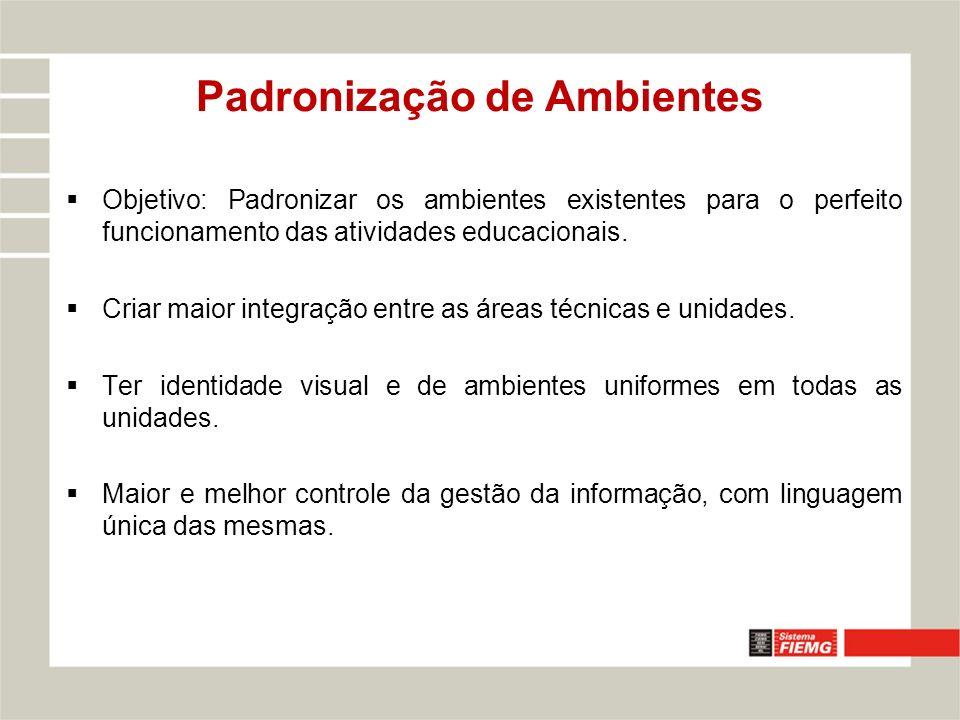 Objetivo: Padronizar os ambientes existentes para o perfeito funcionamento das atividades educacionais. Criar maior integração entre as áreas técnicas