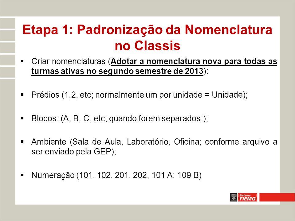 Criar nomenclaturas (Adotar a nomenclatura nova para todas as turmas ativas no segundo semestre de 2013): Prédios (1,2, etc; normalmente um por unidade = Unidade); Blocos: (A, B, C, etc; quando forem separados.); Ambiente (Sala de Aula, Laboratório, Oficina; conforme arquivo a ser enviado pela GEP); Numeração (101, 102, 201, 202, 101 A; 109 B) Etapa 1: Padronização da Nomenclatura no Classis
