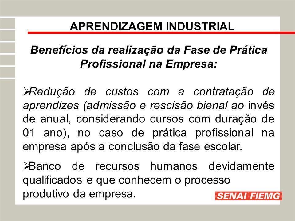 APRENDIZAGEM INDUSTRIAL Benefícios da realização da Fase de Prática Profissional na Empresa: Redução de custos com a contratação de aprendizes (admiss
