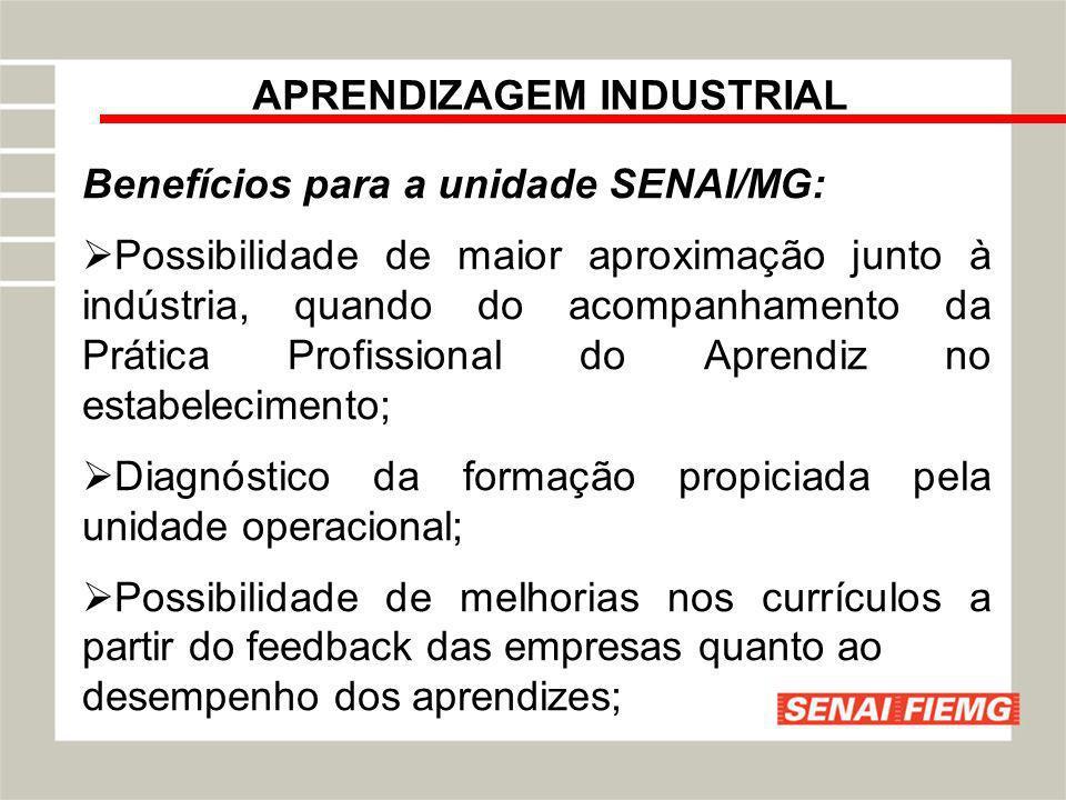 APRENDIZAGEM INDUSTRIAL Benefícios para a unidade SENAI/MG: Possibilidade de maior aproximação junto à indústria, quando do acompanhamento da Prática