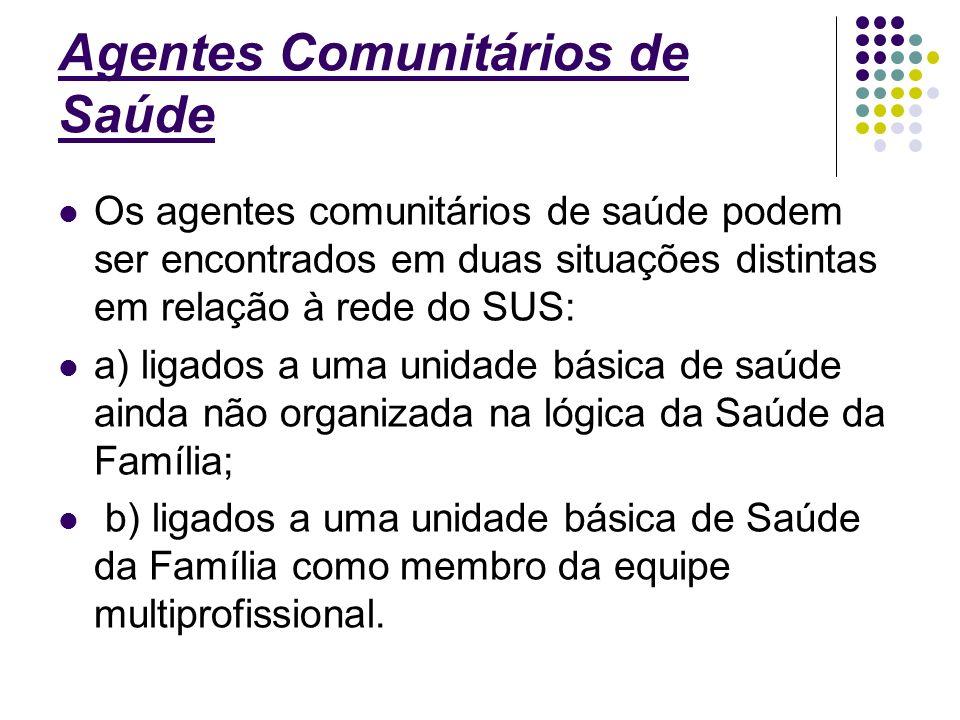 Agentes Comunitários de Saúde Os agentes comunitários de saúde podem ser encontrados em duas situações distintas em relação à rede do SUS: a) ligados