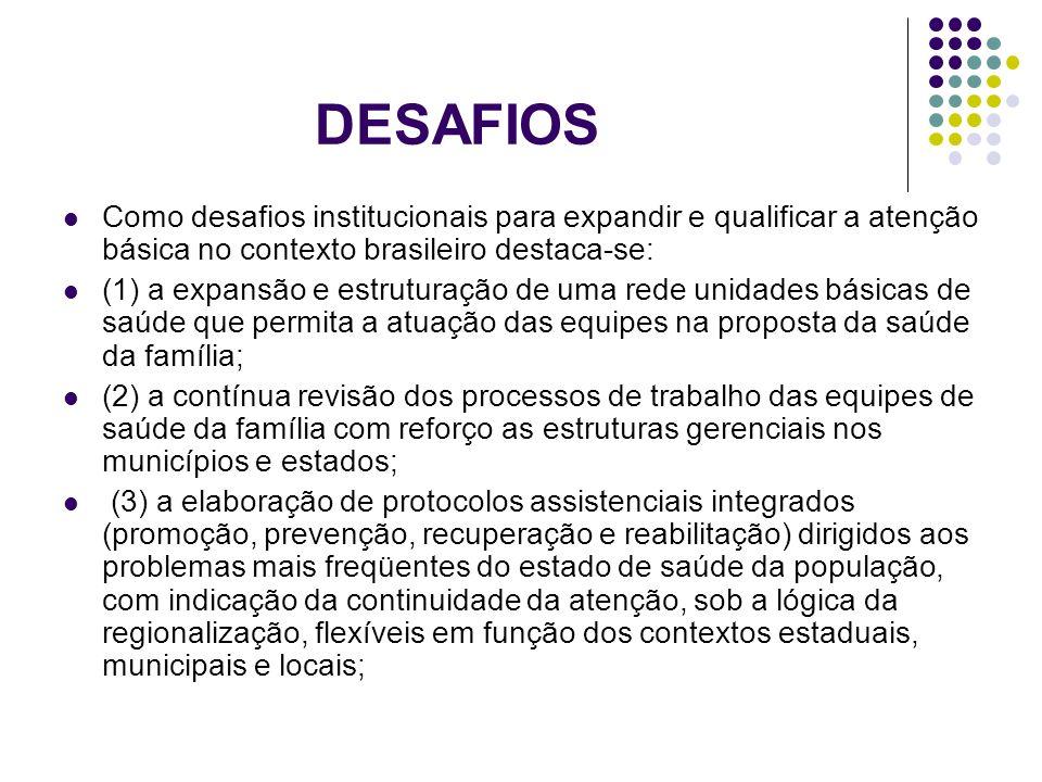 DESAFIOS Como desafios institucionais para expandir e qualificar a atenção básica no contexto brasileiro destaca-se: (1) a expansão e estruturação de