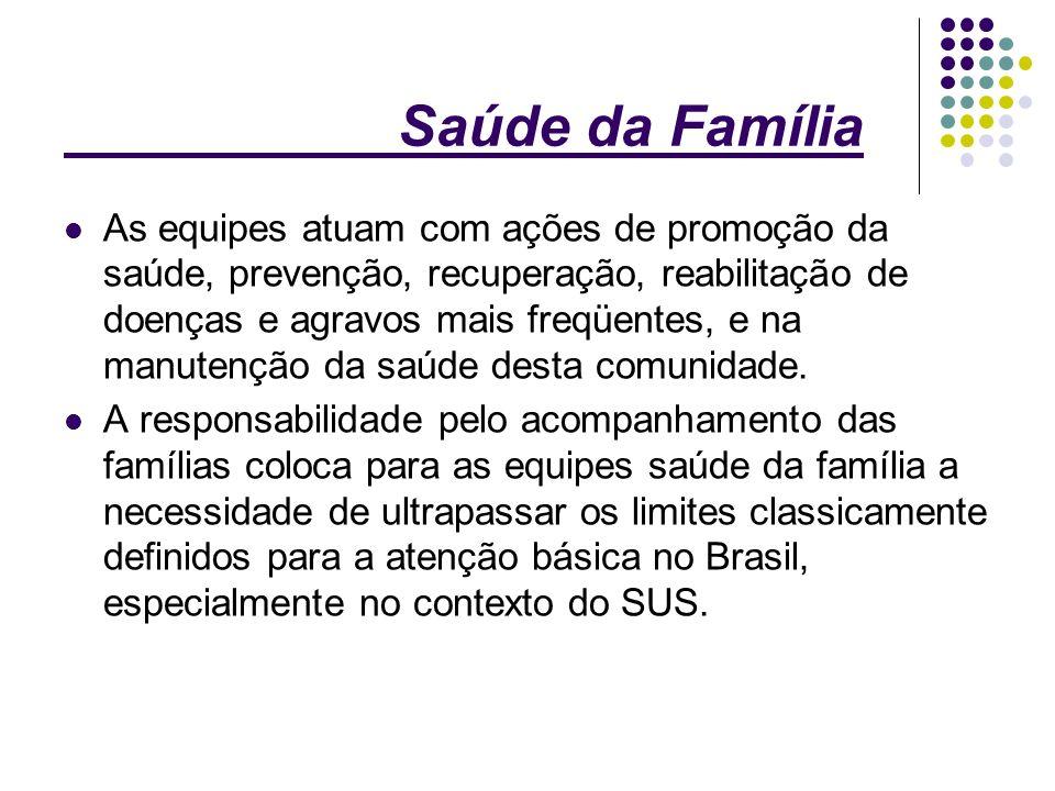 Saúde da Família Iniciado em 1994, apresentou um crescimento expressivo nos últimos anos.