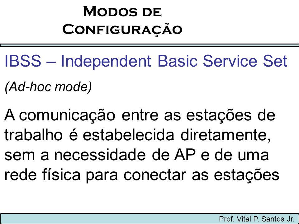 Modos de Configuração Prof. Vital P. Santos Jr. IBSS – Independent Basic Service Set (Ad-hoc mode) A comunicação entre as estações de trabalho é estab