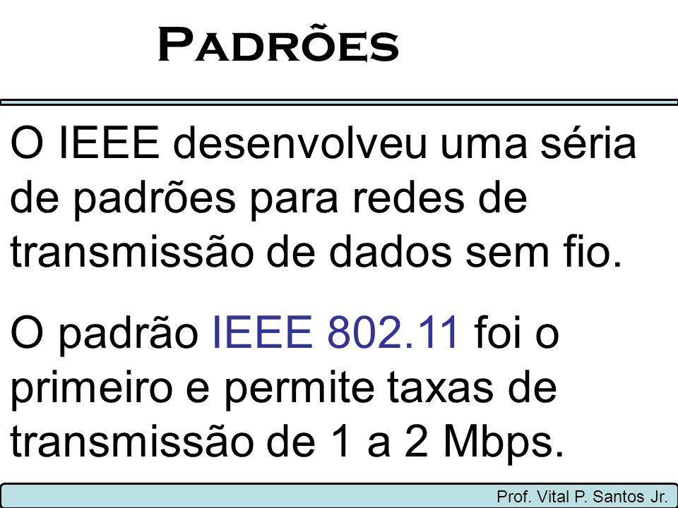 Padrões Prof. Vital P. Santos Jr. O IEEE desenvolveu uma séria de padrões para redes de transmissão de dados sem fio. O padrão IEEE 802.11 foi o prime
