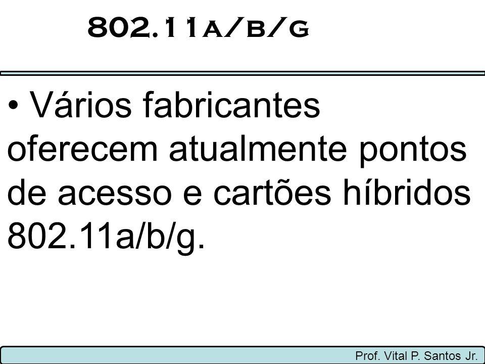 802.11a/b/g Prof. Vital P. Santos Jr. Vários fabricantes oferecem atualmente pontos de acesso e cartões híbridos 802.11a/b/g.