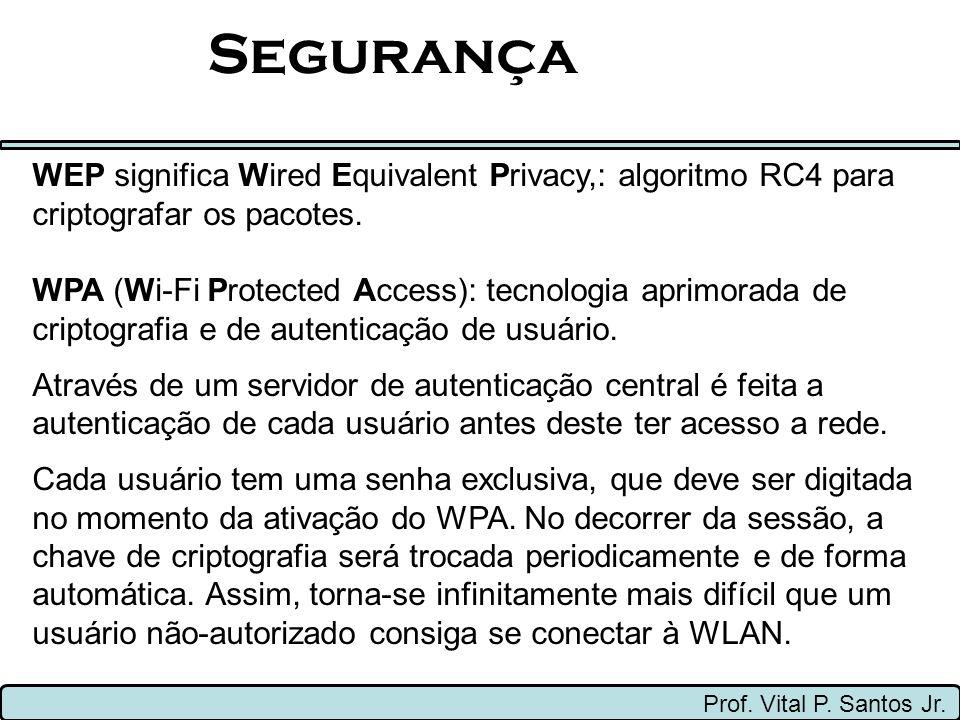 Segurança Prof. Vital P. Santos Jr. WEP significa Wired Equivalent Privacy,: algoritmo RC4 para criptografar os pacotes. WPA (Wi-Fi Protected Access):