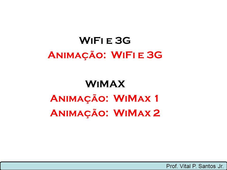 Prof. Vital P. Santos Jr. WiFi e 3G Animação: WiFi e 3G WiMAX Animação: WiMax 1 Animação: WiMax 2