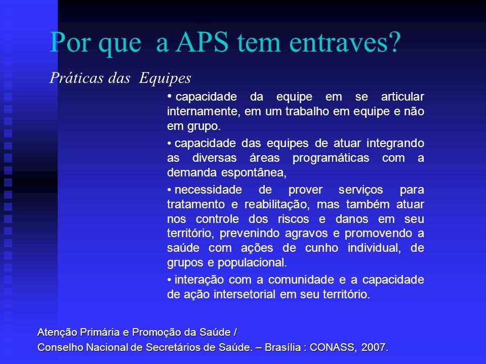 Por que a APS tem entraves? Atenção Primária e Promoção da Saúde / Conselho Nacional de Secretários de Saúde. – Brasília : CONASS, 2007. capacidade da