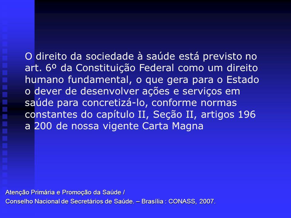 Atenção Primária e Promoção da Saúde / Conselho Nacional de Secretários de Saúde. – Brasília : CONASS, 2007. O direito da sociedade à saúde está previ