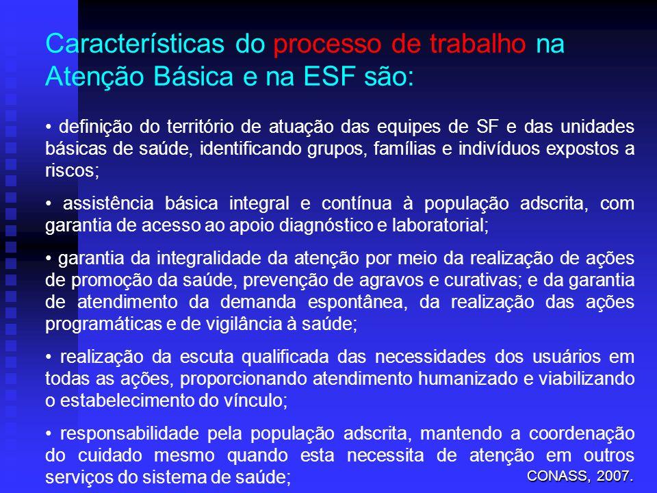 Características do processo de trabalho na Atenção Básica e na ESF são: definição do território de atuação das equipes de SF e das unidades básicas de