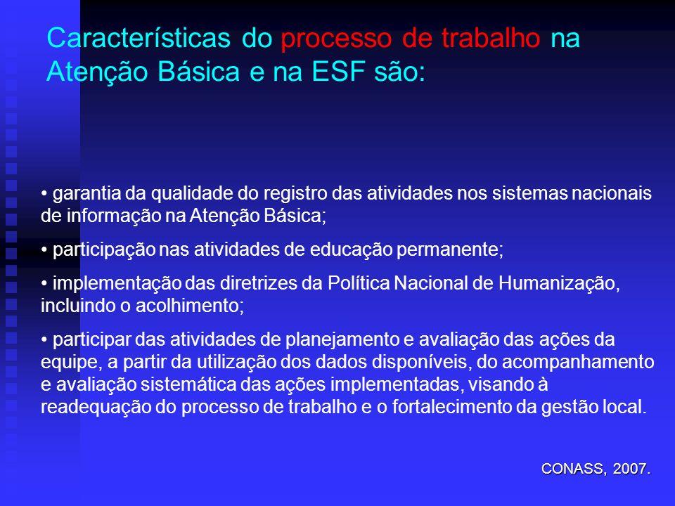 garantia da qualidade do registro das atividades nos sistemas nacionais de informação na Atenção Básica; participação nas atividades de educação perma