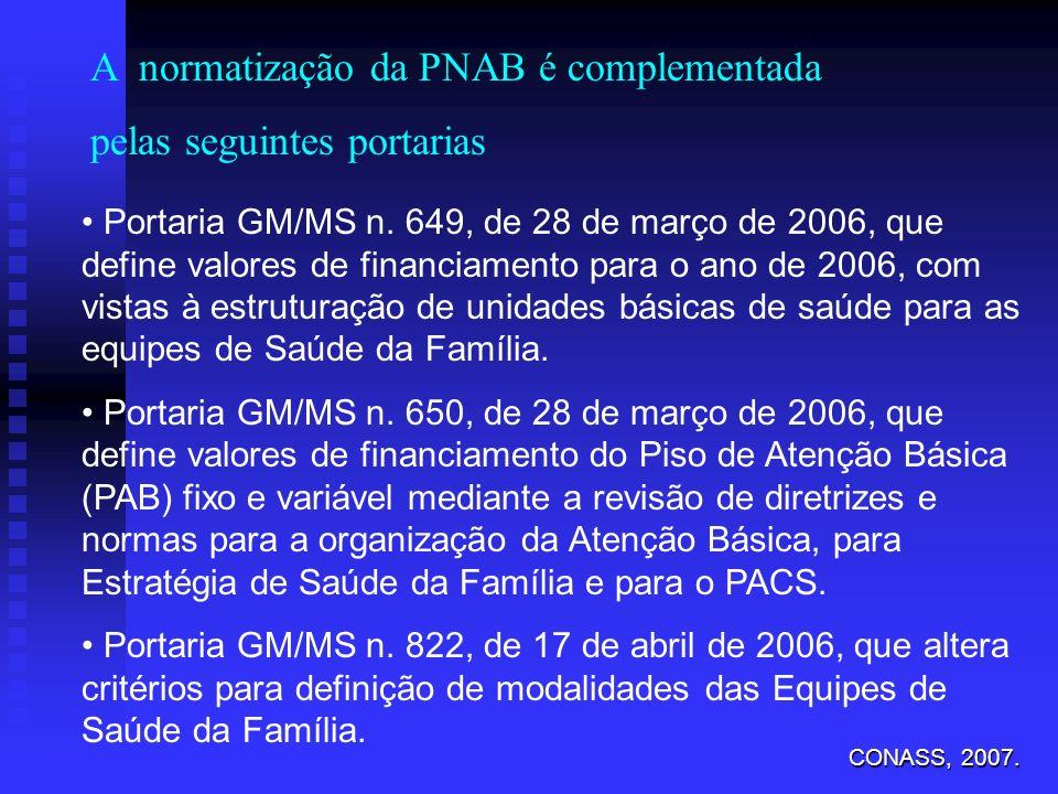 Portaria GM/MS n. 649, de 28 de março de 2006, que define valores de financiamento para o ano de 2006, com vistas à estruturação de unidades básicas d