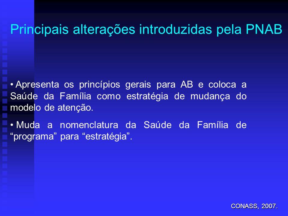 Principais alterações introduzidas pela PNAB Apresenta os princípios gerais para AB e coloca a Saúde da Família como estratégia de mudança do modelo d