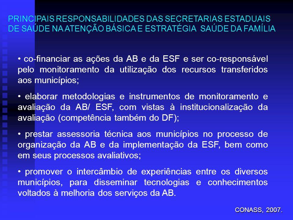 co-financiar as ações da AB e da ESF e ser co-responsável pelo monitoramento da utilização dos recursos transferidos aos municípios; elaborar metodolo