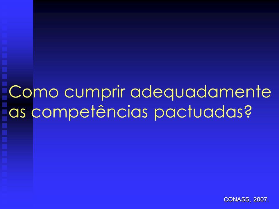 Como cumprir adequadamente as competências pactuadas? CONASS, 2007.
