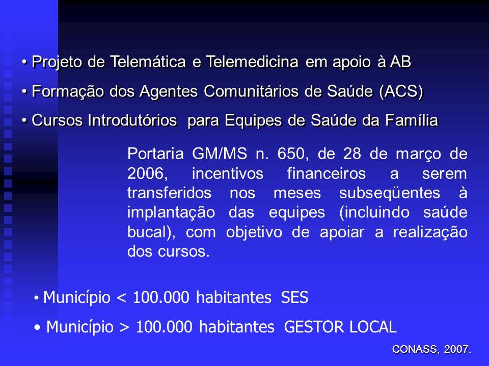 Projeto de Telemática e Telemedicina em apoio à AB Formação dos Agentes Comunitários de Saúde (ACS) Cursos Introdutórios para Equipes de Saúde da Famí