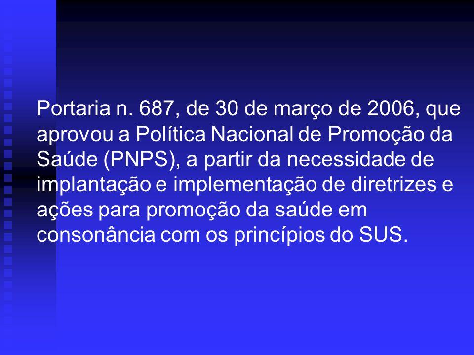 Portaria n. 687, de 30 de março de 2006, que aprovou a Política Nacional de Promoção da Saúde (PNPS), a partir da necessidade de implantação e impleme