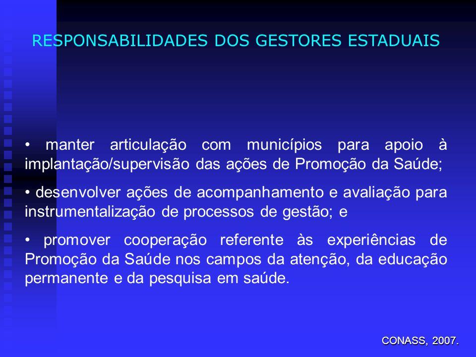 RESPONSABILIDADES DOS GESTORES ESTADUAIS manter articulação com municípios para apoio à implantação/supervisão das ações de Promoção da Saúde; desenvo