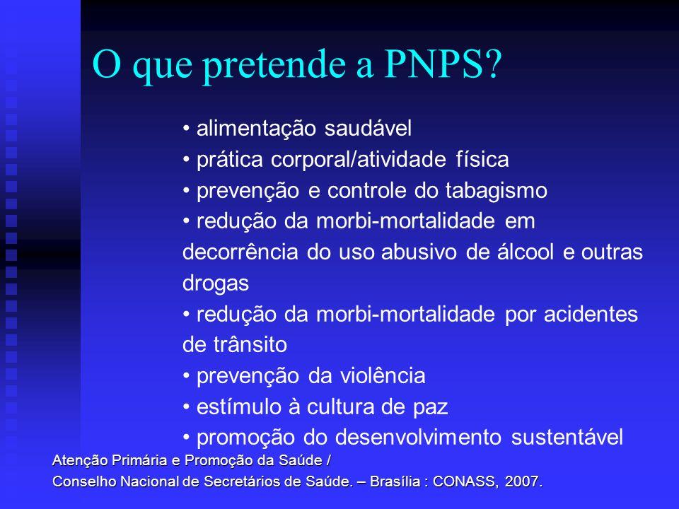 O que pretende a PNPS? alimentação saudável prática corporal/atividade física prevenção e controle do tabagismo redução da morbi-mortalidade em decorr