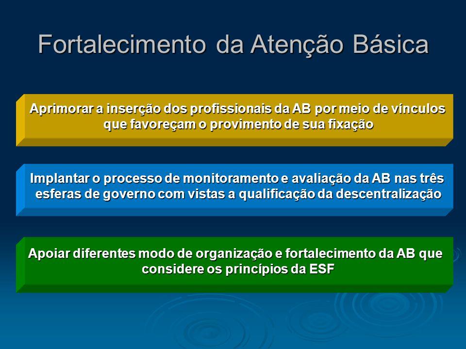 Fortalecimento da Atenção Básica Apoiar diferentes modo de organização e fortalecimento da AB que considere os princípios da ESF Implantar o processo