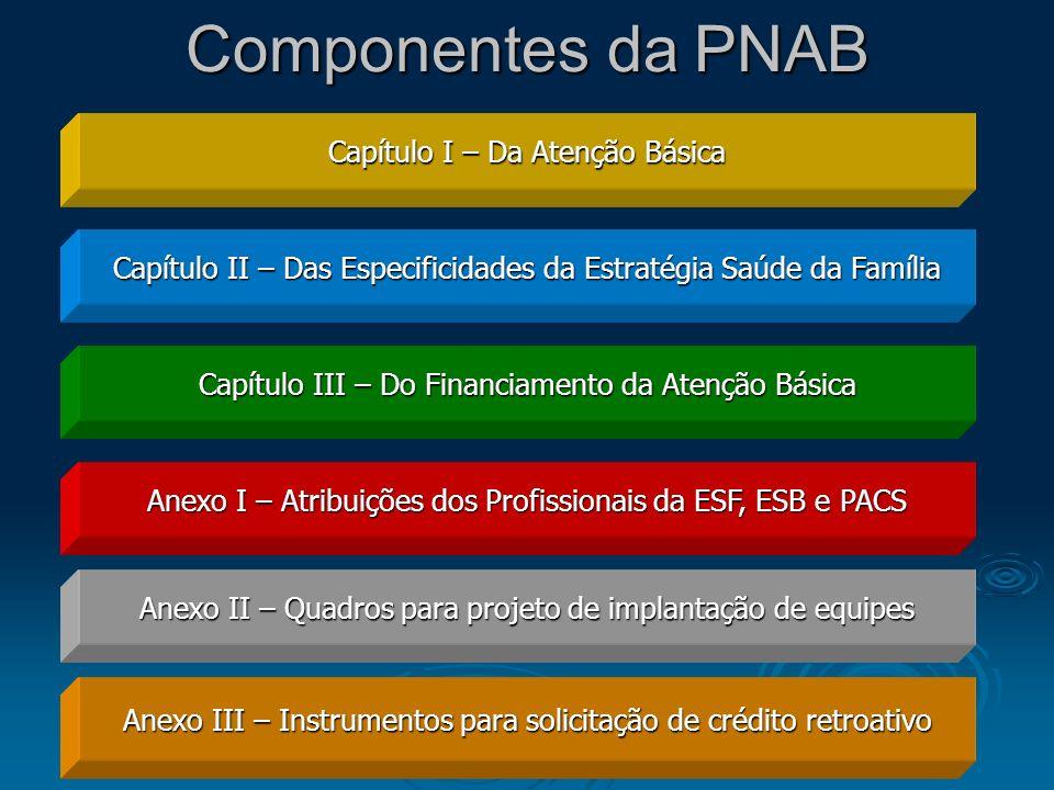 Componentes da PNAB Capítulo I – Da Atenção Básica Capítulo II – Das Especificidades da Estratégia Saúde da Família Capítulo III – Do Financiamento da