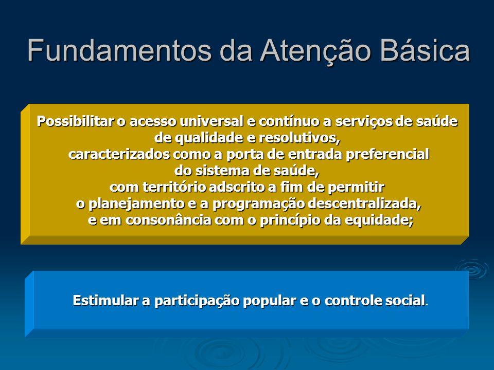 Estimular a participação popular e o controle social. Possibilitar o acesso universal e contínuo a serviços de saúde de qualidade e resolutivos, carac