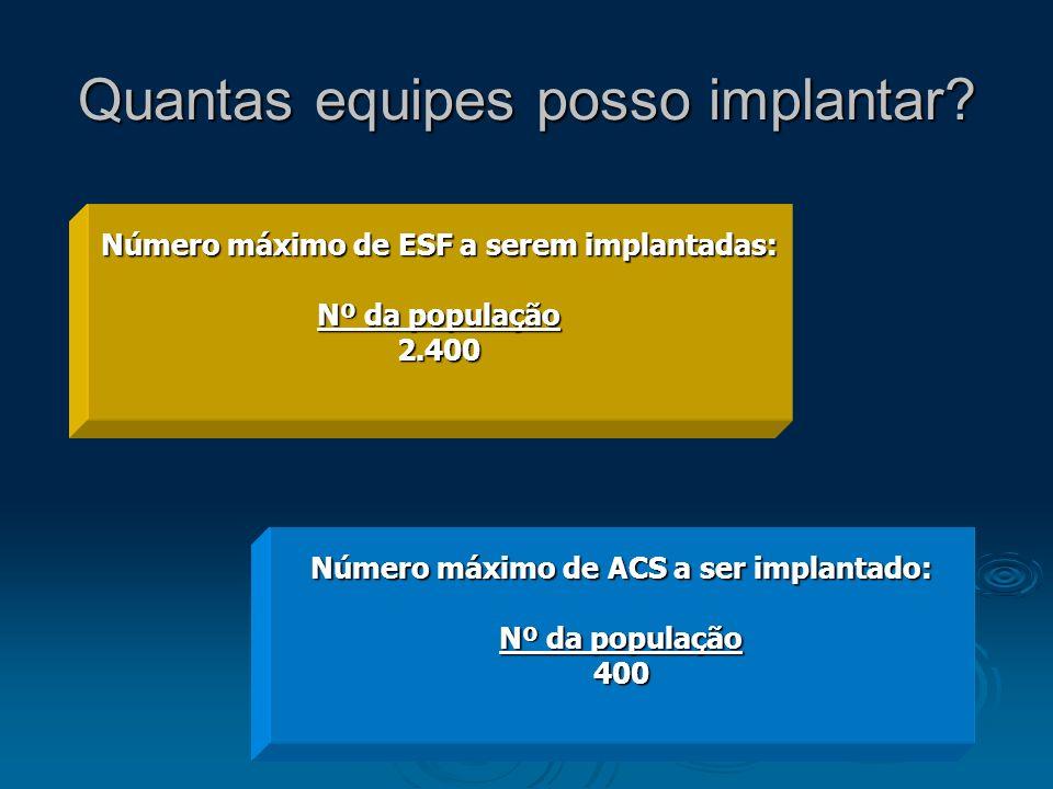Quantas equipes posso implantar? Número máximo de ESF a serem implantadas: Nº da população 2.400 Número máximo de ACS a ser implantado: Nº da populaçã