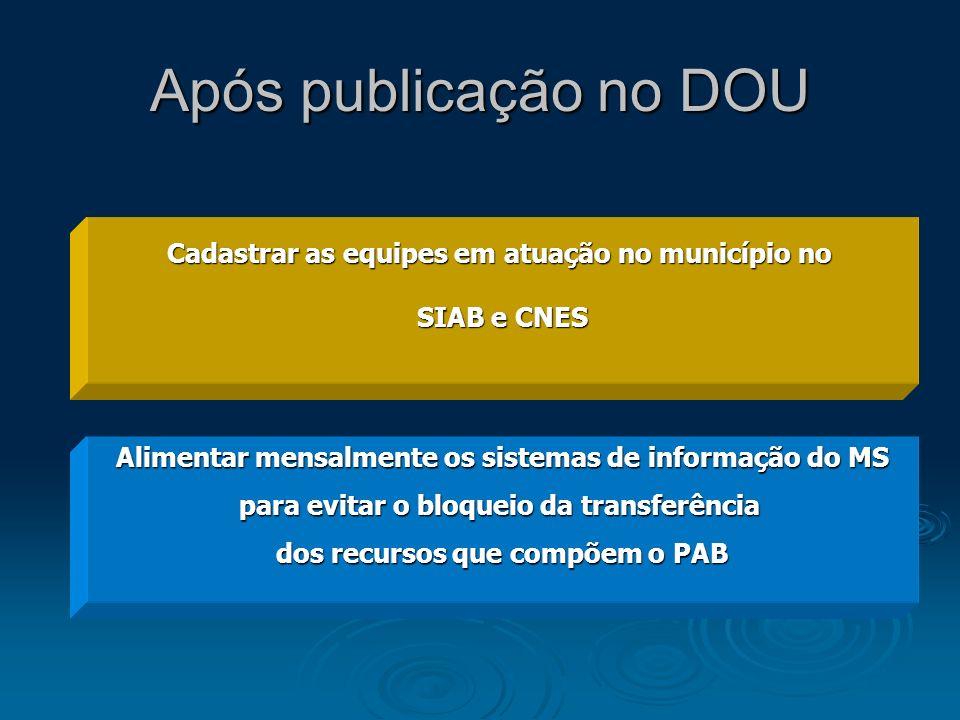 Após publicação no DOU Cadastrar as equipes em atuação no município no SIAB e CNES Alimentar mensalmente os sistemas de informação do MS para evitar o