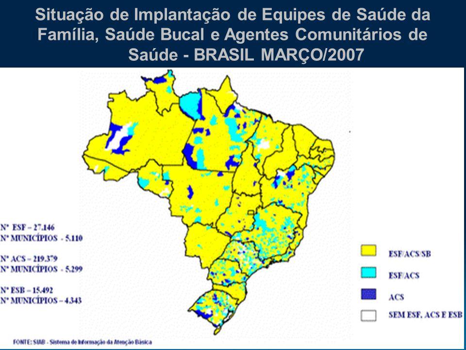 20062006 Situação de Implantação de Equipes de Saúde da Família, Saúde Bucal e Agentes Comunitários de Saúde - BRASIL MARÇO/2007