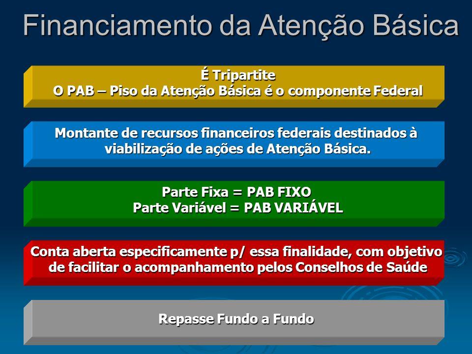É Tripartite O PAB – Piso da Atenção Básica é o componente Federal Montante de recursos financeiros federais destinados à viabilização de ações de Ate