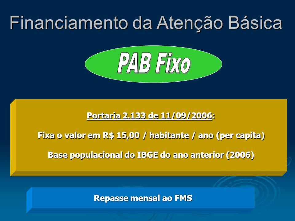 Portaria 2.133 de 11/09/2006: Fixa o valor em R$ 15,00 / habitante / ano (per capita) Base populacional do IBGE do ano anterior (2006) Repasse mensal