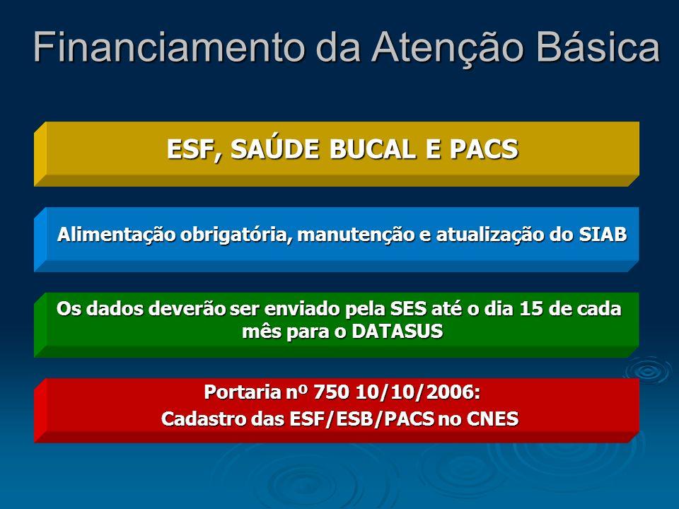 ESF, SAÚDE BUCAL E PACS Alimentação obrigatória, manutenção e atualização do SIAB Os dados deverão ser enviado pela SES até o dia 15 de cada mês para