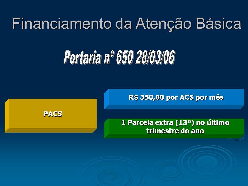 PACS R$ 350,00 por ACS por mês 1 Parcela extra (13º) no último trimestre do ano