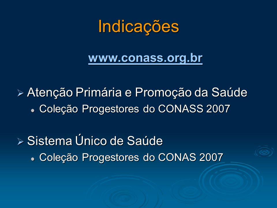 Indicações www.conass.org.br Atenção Primária e Promoção da Saúde Atenção Primária e Promoção da Saúde Coleção Progestores do CONASS 2007 Coleção Prog