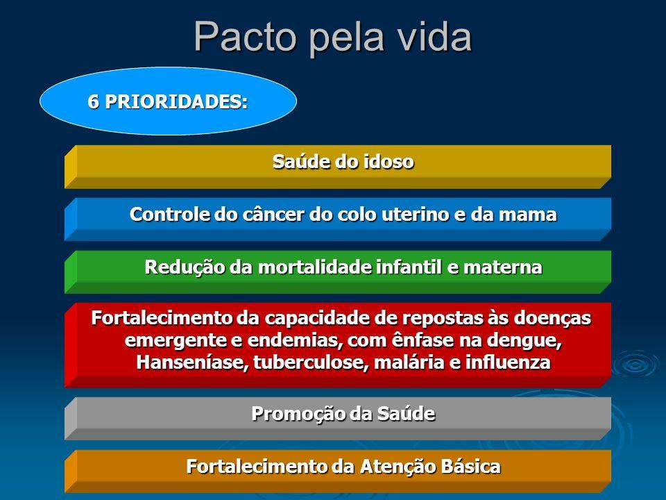 Pacto pela vida 6 PRIORIDADES: Saúde do idoso Controle do câncer do colo uterino e da mama Redução da mortalidade infantil e materna Fortalecimento da