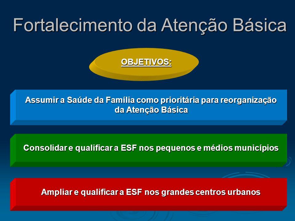 Assumir a Saúde da Família como prioritária para reorganização da Atenção Básica da Atenção Básica Consolidar e qualificar a ESF nos pequenos e médios